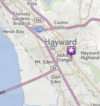google map of Hayward showing the location