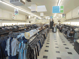 clothing racks from the San Bernardino Eco Thrift store
